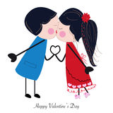 Kissing couple holding hand with heart greeting Stock Images