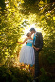 Kissing couple is holding hands on the background sunshine fores Stock Photos