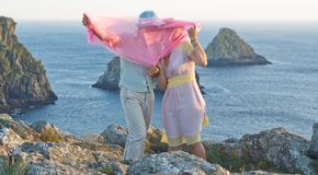 Kissing couple at honeymoon in France Stock Photos