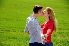 Kissing couple in love. Royalty Free Stock Images