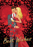 Kissing couple  man and woman with red hearts Royalty Free Stock Photos