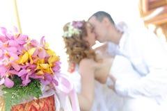 Kissing couple near temple Stock Photos