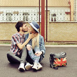Kissing couple outdoor portrait Stock Photography