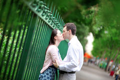 Kissing couple in Paris Royalty Free Stock Image