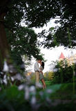 Kissing couple in the park Royalty Free Stock Photo