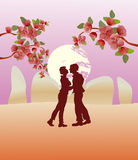 Kissing couple in the park . Vector Royalty Free Stock Photo