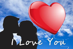 Kissing couple silhouette illustration Royalty Free Stock Photo