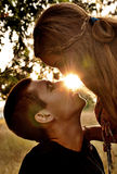 Kissing couple on sunset Stock Photo