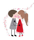 Kissing couple valentine day card Royalty Free Stock Images