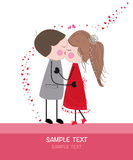 Kissing couple valentine day greeting card vector Royalty Free Stock Images