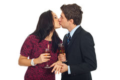 Kissing couple on Valentine's day Royalty Free Stock Photo