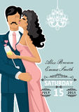 Kissing couple.Wedding invitation Stock Images