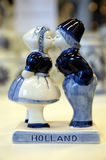 Kissing Dutch Souvenier. Kissing Dutch Delftware Souvenier, Holland royalty free stock photo