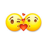 Kissing emoticons, Valentines day emoticon icon Stock Photos