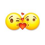 Kissing emoticons, Valentines day emoticon icon Stock Photos