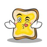 Kissing face bread character cartoon Stock Photos