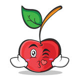 Kissing face cherry character cartoon style Stock Images