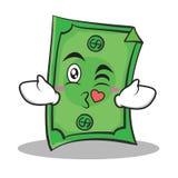 Kissing face Dollar character cartoon style Royalty Free Stock Image