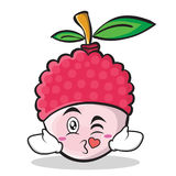 Kissing face lychee cartoon character style Stock Photography