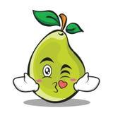 Kissing face pear character cartoon Royalty Free Stock Photos