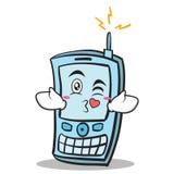 Kissing face phone character cartoon style Stock Photos