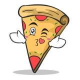 Kissing face pizza character cartoon. Vector illustration Stock Image