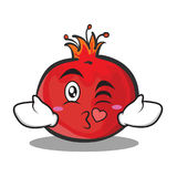 Kissing face pomegranate cartoon character style Royalty Free Stock Images