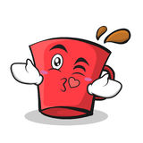 Kissing face red glass character cartoon Stock Images