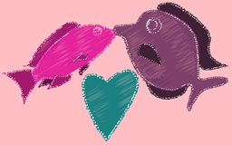Kissing fish and heart painted with dashed lines. Two fish kiss on a pink background. Vector illustration Stock Photos