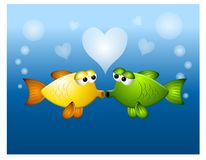 Kissing Fish Love Bubbles. An illustration featuring a couple of fish kissing and surrounded by love bubbles Stock Photo