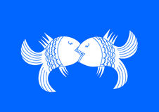 Kissing fish. Vector illustration Stock Photo