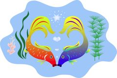 Kissing fishes. Kisses fishes, valentine, hearts,cartoon character, vector Stock Photography