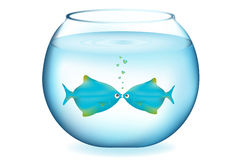 Kissing Fishes. Vector Royalty Free Stock Image