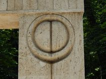 Kissing Gate by Constantin Brancusi. Details - a famous stone sculpture - Targu Jiu, Romania royalty free stock photo