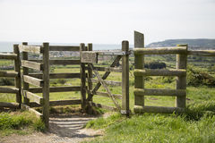 Kissing gate or Stile leading to the next field Stock Photo