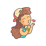Kissing Girl In Cap, Choker And Blue Top Hand Drawn Emoji Cool Outlined Portrait. Part Of Funky Flat Vector Sticker Series With Teenager Different Emotional Royalty Free Stock Photo