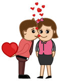 Kissing a Girl Vector Stock Photography