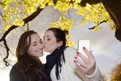 Kissing girlfriends Stock Image