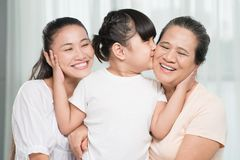 Kissing grandmother Royalty Free Stock Images