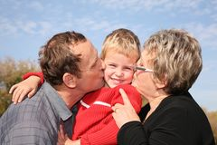 kissing the grandson Royalty Free Stock Photography