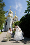 Kissing hand �� the bride Royalty Free Stock Photography