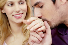 Kissing hand of wife Royalty Free Stock Photo