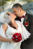 Kissing happy young couple Stock Photos