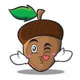 Kissing heart acorn cartoon character style Stock Images