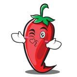 Kissing heart red chili character cartoon Royalty Free Stock Photos