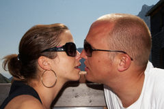 Kissing hikers Stock Photography