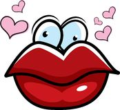Kissing Lips. Red lips surrounded by hearts puckered for a kiss Royalty Free Stock Image