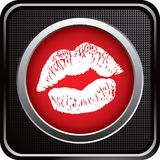Kissing lips on black checkered web icon Stock Photography