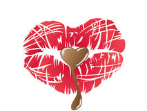 Kissing lips with chocolate Royalty Free Stock Image