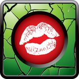 Kissing lips on green cracked web button Royalty Free Stock Image